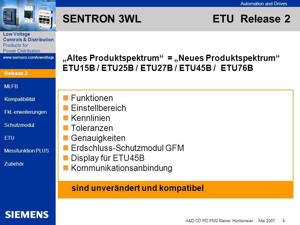 Automation and Drives A&D CD PD PM2 Rainer Hüntemeier Mai 2007 15 Products for Power Distribution www.siemens.com/lowvoltage Low Voltage Controls & Distribution Release 2 MLFB Kompatibilität Fkt.-erweiterungen Schutzmodul ETU Messfunktion PLUS Zubehör Bis 5/2007 Release 2 3WL9111-0AT31-0AA03WL9111-0AT32-0AA0 Anschlussleitung nur für Anschlussleitung für ETU ETU- bis 5/2007 bis 5/2007 UND Release 2 SENTRON 3WL ETU Release 2 Zubehör - Handprüfgerät Handprüfgerät bis 5/2007 kann mechanisch nicht an die ETU Release 2 angeschlossen werden.