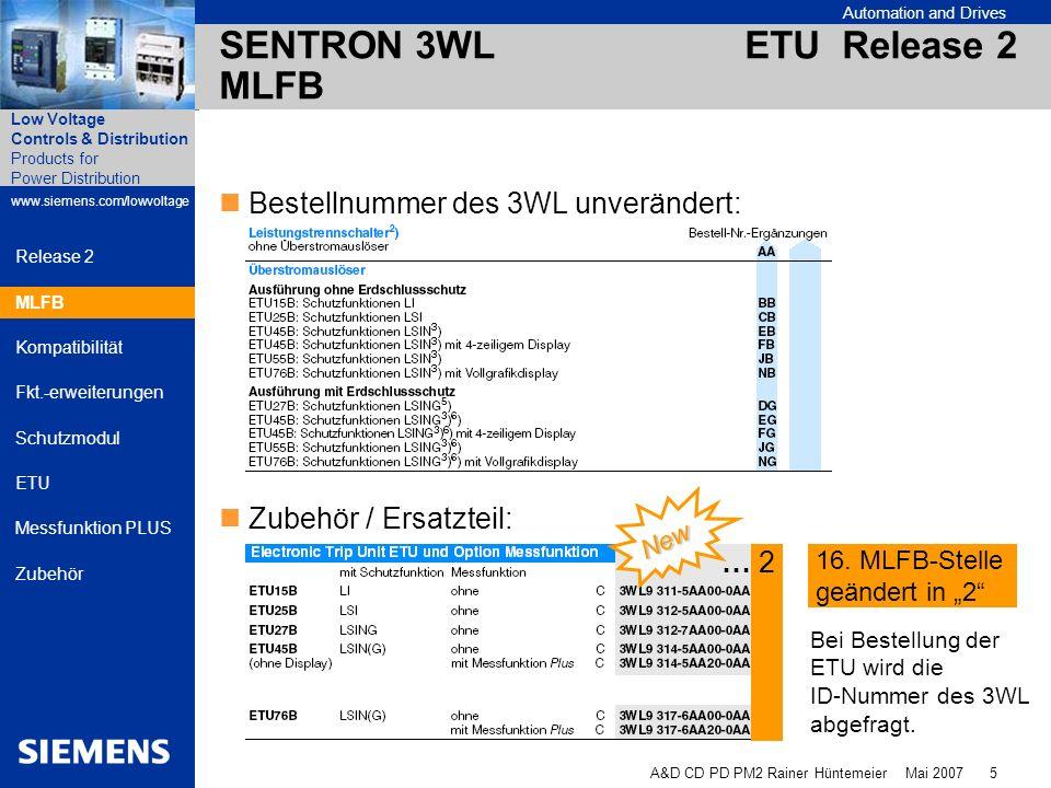 Automation and Drives A&D CD PD PM2 Rainer Hüntemeier Mai 2007 6 Products for Power Distribution www.siemens.com/lowvoltage Low Voltage Controls & Distribution Release 2 MLFB Kompatibilität Fkt.-erweiterungen Schutzmodul ETU Messfunktion PLUS Zubehör SENTRON 3WL ETU Release 2 Kompatibilität SENTRON 3WL mit ETU bis 05/2007ETU Release 2 Bis 05/2007Release 2 Bei Bestellung als Ersatzteil wird als komplettes Schutzmodul ausgeliefert (die erforderlichen Adapter und Geräteträger mit geliefert) Kompatibilität