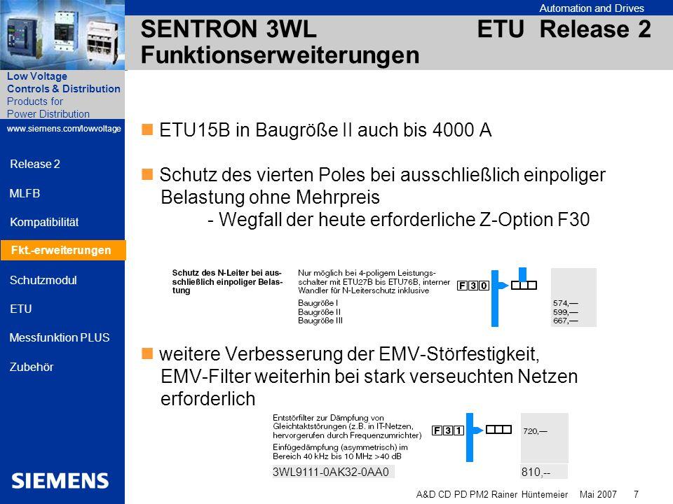 Automation and Drives A&D CD PD PM2 Rainer Hüntemeier Mai 2007 8 Products for Power Distribution www.siemens.com/lowvoltage Low Voltage Controls & Distribution Release 2 MLFB Kompatibilität Fkt.-erweiterungen Schutzmodul ETU Messfunktion PLUS Zubehör SENTRON 3WL ETU Release 2 Funktionserweiterungen Einfachere Verdrahtung beim Nachrüsten der Messfunktion PLUS Die internen Stromwandler können bei jeder ETU inklusive Z-Optionen geprüft werden.