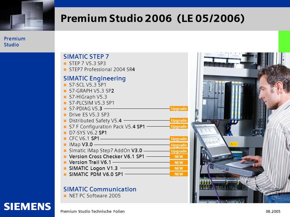Automation and Drives Premium Studio Premium Studio Technische Folien08.2005 Premium Studio 2006 (LE 05/2006) SIMATIC HMI WinCC V6.0 SP 4 WinCC WebNavigator V6.1 SP1 WinCC ProAgent V6.0 SP3 WinCC Dat@Monitor V6.1 SP1 WinCC Connectivity Pack V6.1 SP1 WinCC flexible 2005 WinCC flexible ProAgent 2005 SINUMERIK Engineering und Runtime SINUMERIK Toolbox 810D/840D (Addon für STEP7) V5.3 SP2 STEP 7 für SINUMERIK Hardware V5.