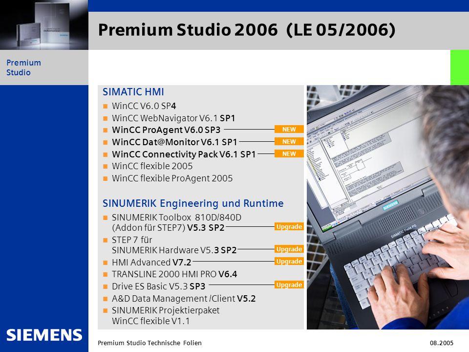 Automation and Drives Premium Studio Premium Studio Technische Folien08.2005 Neue Softwaretools SIMOTION S7 Technology WinCC IndustrialDataBridge V6.0 SP1 WinCC Audit V6.0 SP1 RFID SIMATIC Spectation Etc.