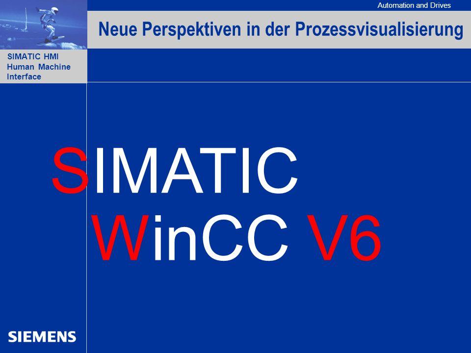 Automation and Drives SIMATIC HMI Human Machine Interface A&D PT1 BD / 03.2003 / MR4631 JT3543 22 WinCC V6 - Neue Perspektiven für die Prozessvisualisierung WinCC Version 6 Optimiert für IT- und Business-Integration Neue Option WinCC/IndustrialDataBridge – projektierbare Anbindung an Datenbanken und IT-Systeme Einfache und damit kostengünstige Integration von Systemen unterschiedlicher Hersteller Erweiterte Skalierbarkeit Erweiterte WEB Funktionalität Integrierte Historian Funktionalität Optimiert für IT und Business Integration Neue offene Standards Neue Funktionen im Basissystem Neue Optionen für FDA 21 CFR Part 11