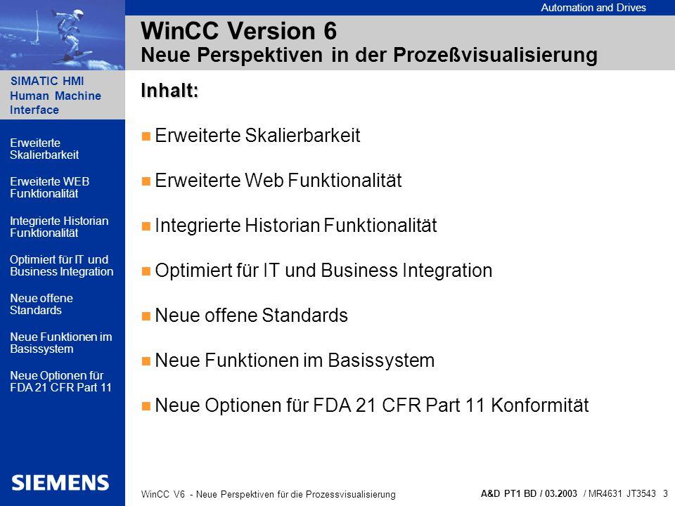 Automation and Drives SIMATIC HMI Human Machine Interface A&D PT1 BD / 03.2003 / MR4631 JT3543 4 WinCC V6 - Neue Perspektiven für die Prozessvisualisierung WinCC Version 6 Erweiterte Skalierbarkeit...