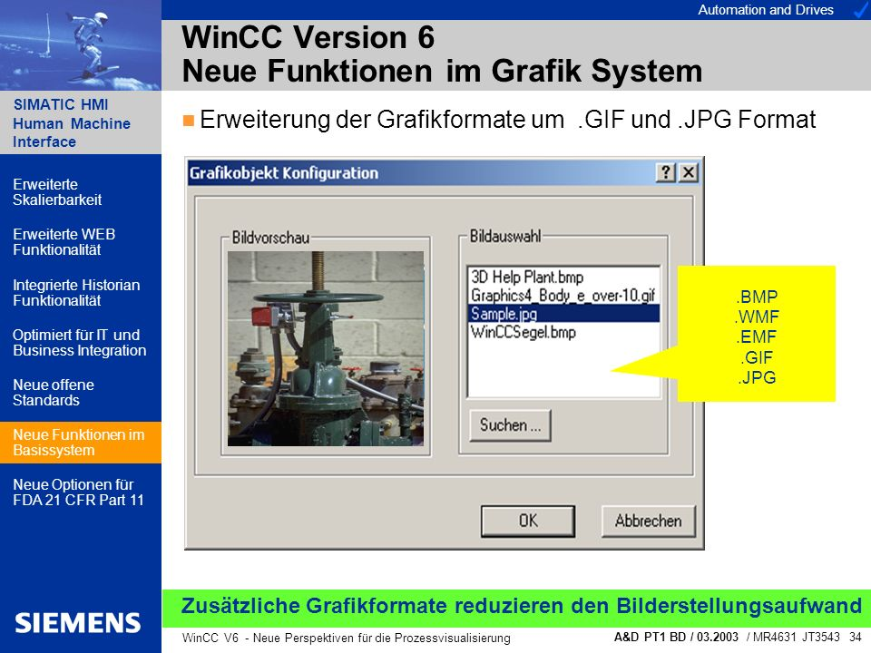 Automation and Drives SIMATIC HMI Human Machine Interface A&D PT1 BD / 03.2003 / MR4631 JT3543 34 WinCC V6 - Neue Perspektiven für die Prozessvisualis