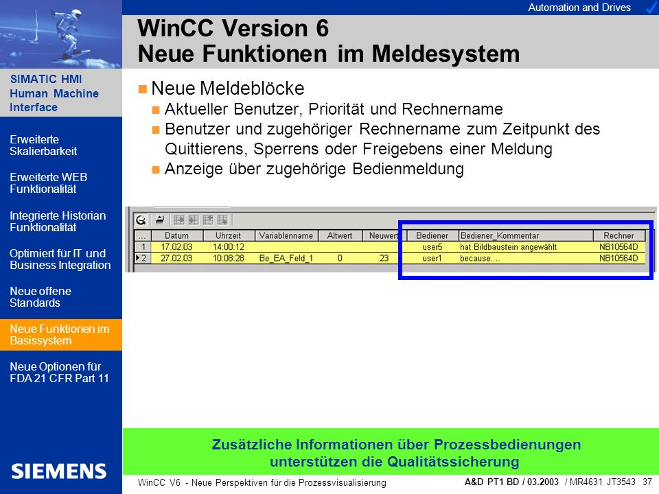 Automation and Drives SIMATIC HMI Human Machine Interface A&D PT1 BD / 03.2003 / MR4631 JT3543 37 WinCC V6 - Neue Perspektiven für die Prozessvisualis