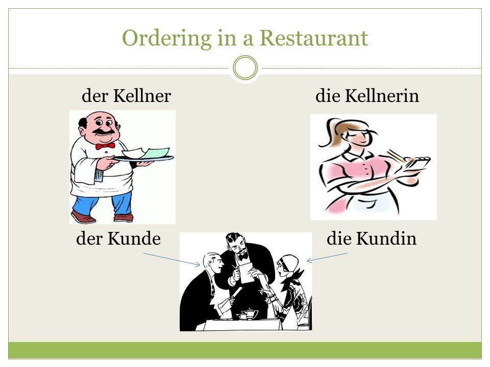Ordering in a Restaurant der Kellnerdie Kellnerin der Kundedie Kundin