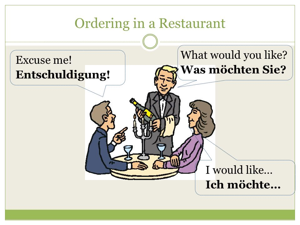 Ordering in a Restaurant What are you getting? Was bekommen Sie? Im getting… Ich bekomme…