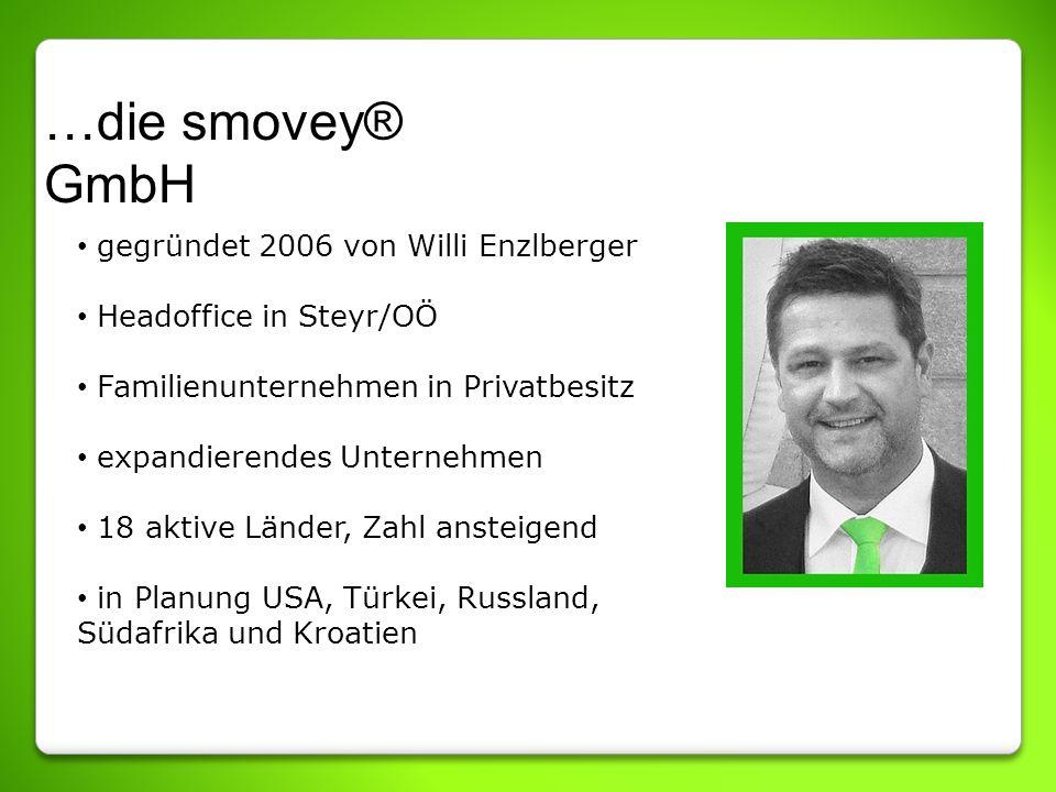 …die smovey® GmbH gegründet 2006 von Willi Enzlberger Headoffice in Steyr/OÖ Familienunternehmen in Privatbesitz expandierendes Unternehmen 18 aktive