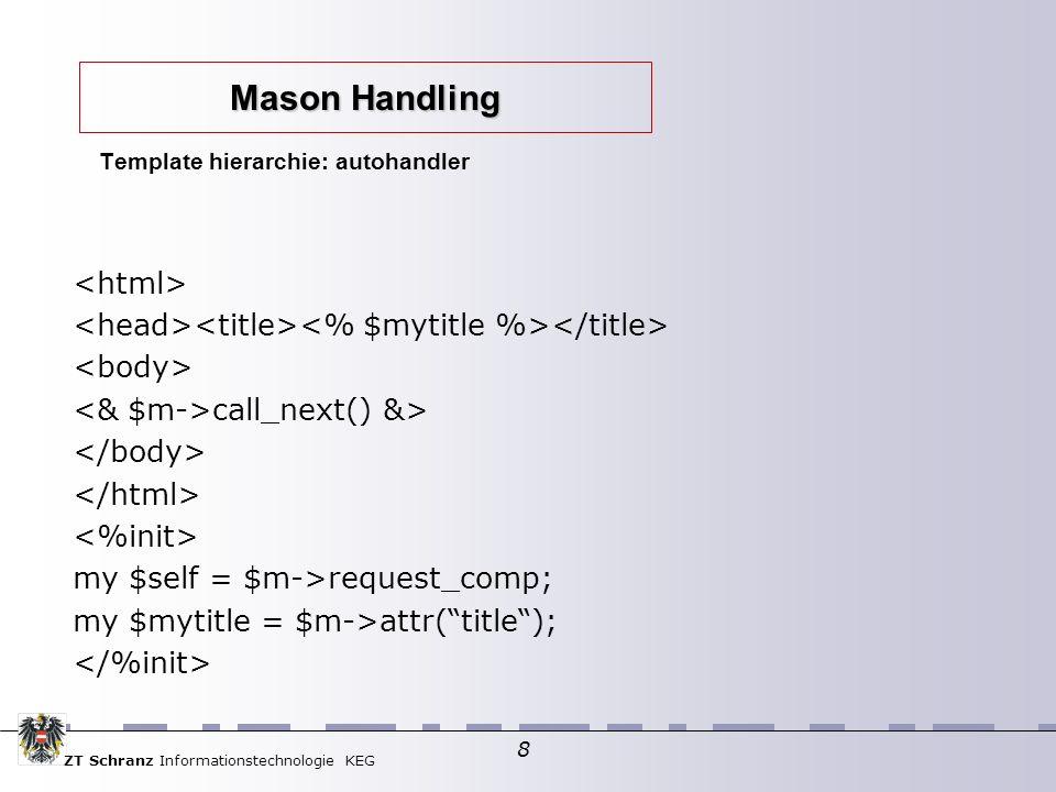 ZT Schranz Informationstechnologie KEG 9 $m->call_next() my $self = $m->request_comp; My $mytitle = $m->call_method(title,%ARGS); Template hierarchie: autohandler Mason Handling