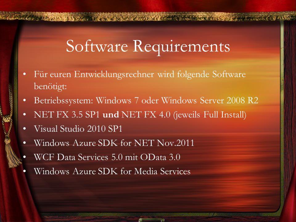 Software Requirements (2) Technisch gesehen ist auch die Verwendung von Windows 8 oder dem Windows Server 2012 möglich.