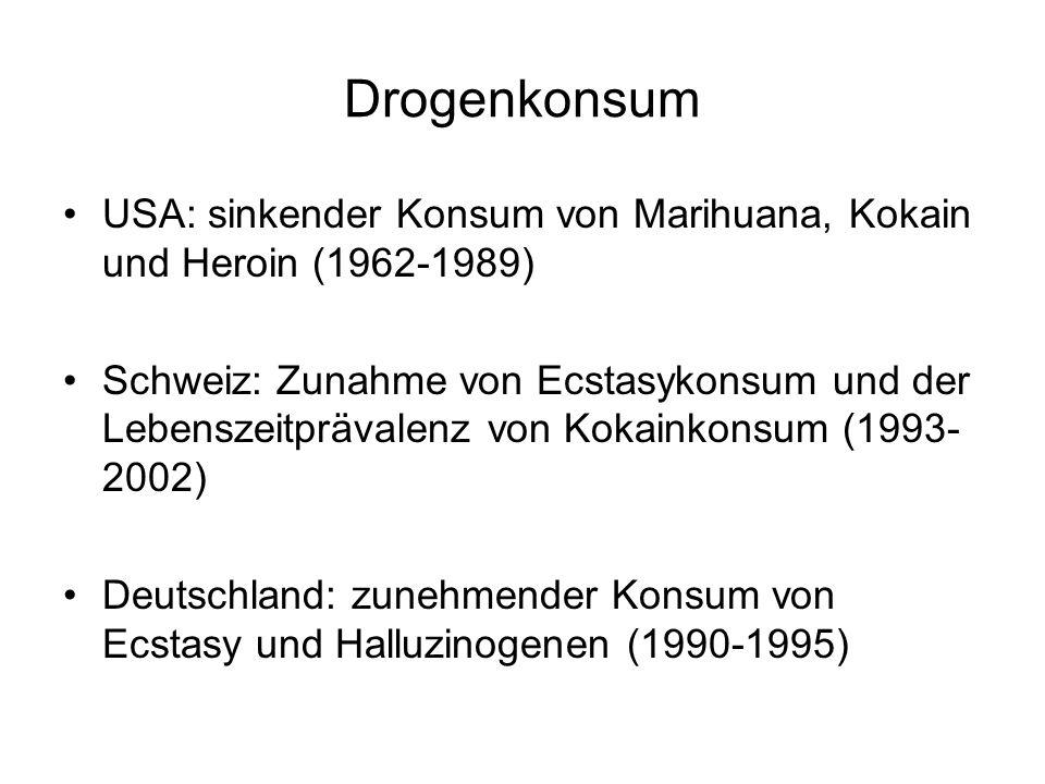 Drogenkonsum USA: sinkender Konsum von Marihuana, Kokain und Heroin (1962-1989) Schweiz: Zunahme von Ecstasykonsum und der Lebenszeitprävalenz von Kok