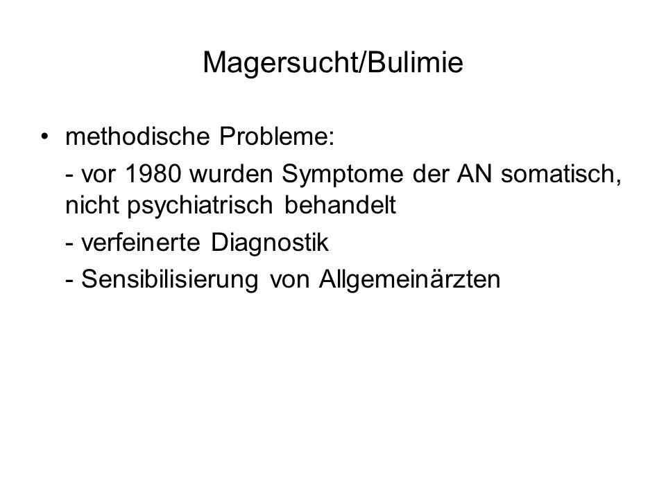 Magersucht/Bulimie methodische Probleme: - vor 1980 wurden Symptome der AN somatisch, nicht psychiatrisch behandelt - verfeinerte Diagnostik - Sensibi