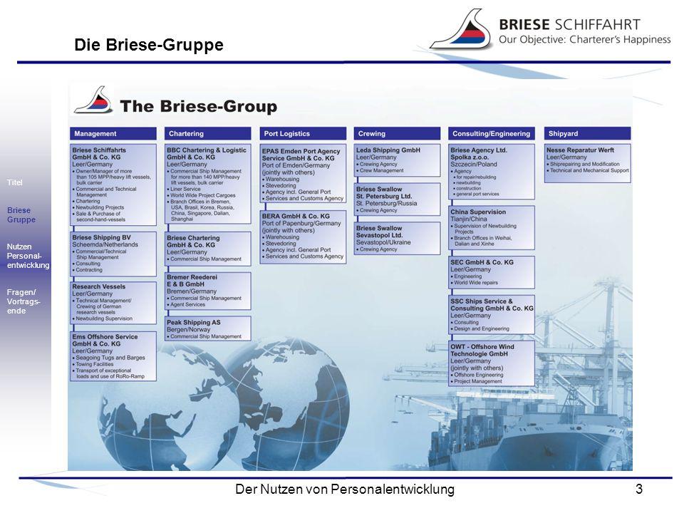 4Der Nutzen von Personalentwicklung Briese Schiffahrt: Mehrzweckfrachter Titel Briese Gruppe Nutzen Personal- entwicklung Fragen/ Vortrags- ende