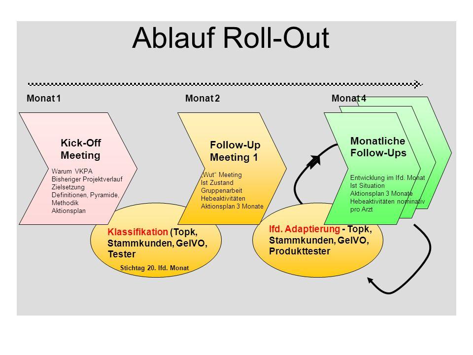 Die ersten Schritte ~ 12 Teilnehmer Marketing/Sales P Desk research Pilotteam erweitertes Pilotteam Roll-Out + Integration in Marketing Strategy 9/032/049/04 insgesamt 34 ADM 3 Monate 5 Monate 12 Monate