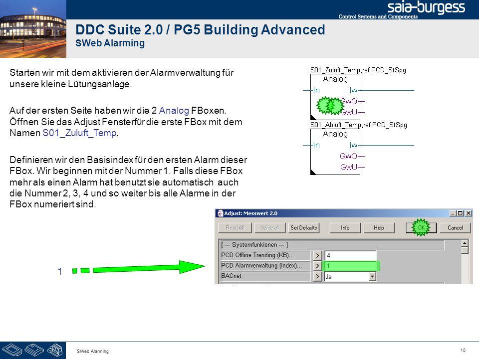 10 SWeb Alarming DDC Suite 2.0 / PG5 Building Advanced SWeb Alarming Starten wir mit dem aktivieren der Alarmverwaltung für unsere kleine Lütungsanlag