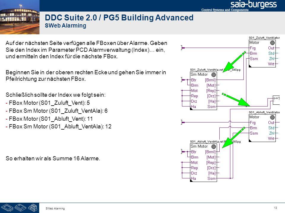 13 SWeb Alarming DDC Suite 2.0 / PG5 Building Advanced SWeb Alarming Auf der nächsten Seite verfügen alle FBoxen über Alarme. Geben Sie den Index im P