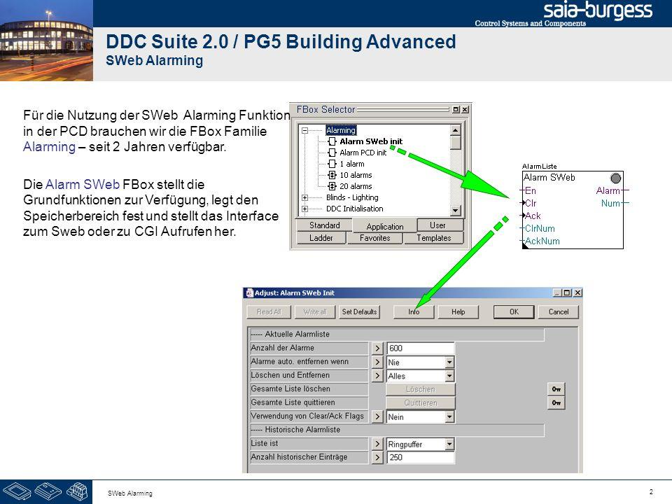 2 DDC Suite 2.0 / PG5 Building Advanced SWeb Alarming Für die Nutzung der SWeb Alarming Funktion in der PCD brauchen wir die FBox Familie Alarming – s