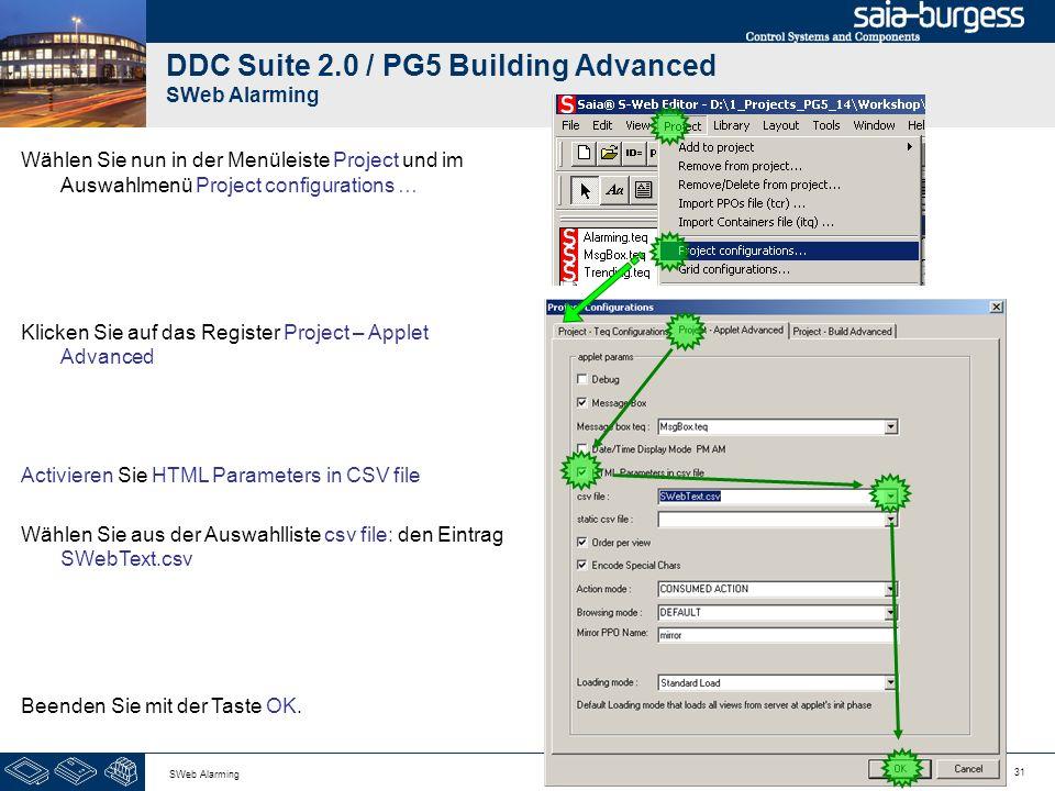 31 SWeb Alarming DDC Suite 2.0 / PG5 Building Advanced SWeb Alarming Wählen Sie nun in der Menüleiste Project und im Auswahlmenü Project configuration