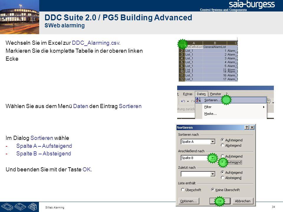 34 SWeb Alarming DDC Suite 2.0 / PG5 Building Advanced SWeb alarming Wechseln Sie im Excel zur DDC_Alarming.csv. Markieren Sie die komplette Tabelle i