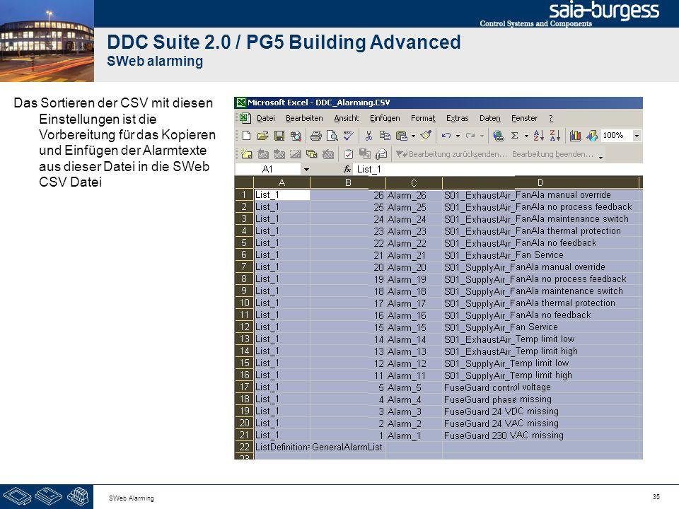 35 SWeb Alarming DDC Suite 2.0 / PG5 Building Advanced SWeb alarming Das Sortieren der CSV mit diesen Einstellungen ist die Vorbereitung für das Kopie