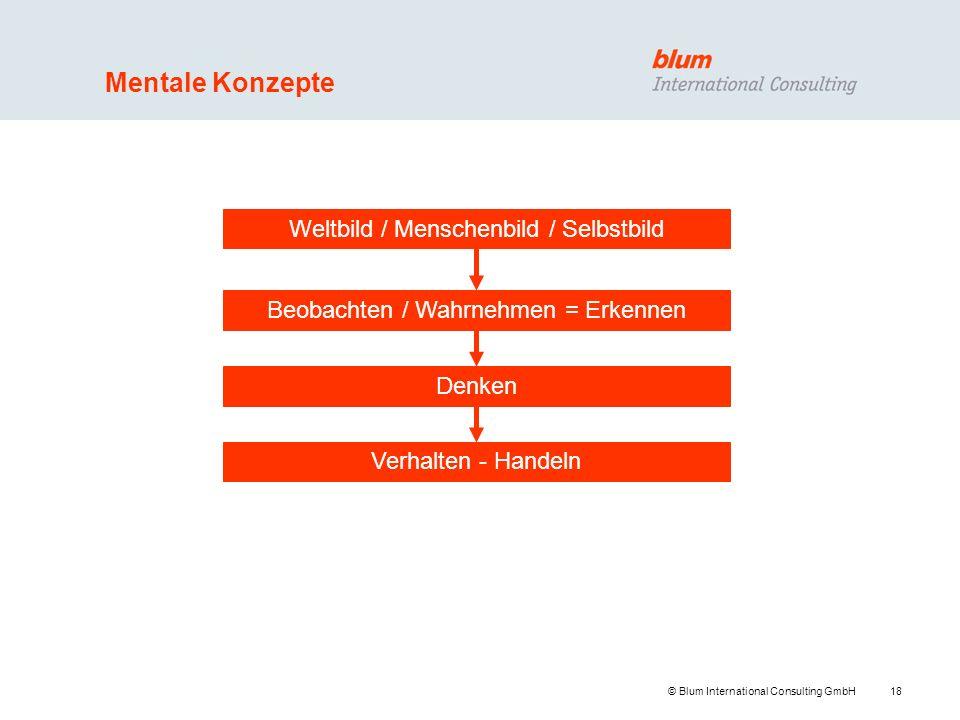 18 © Blum International Consulting GmbH Mentale Konzepte Weltbild / Menschenbild / Selbstbild Beobachten / Wahrnehmen = Erkennen Denken Verhalten - Ha