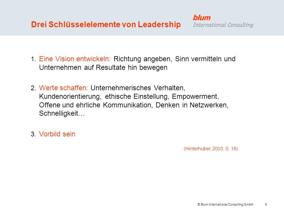 5 © Blum International Consulting GmbH Drei Schlüsselelemente von Leadership 1. Eine Vision entwickeln: Richtung angeben, Sinn vermitteln und Unterneh