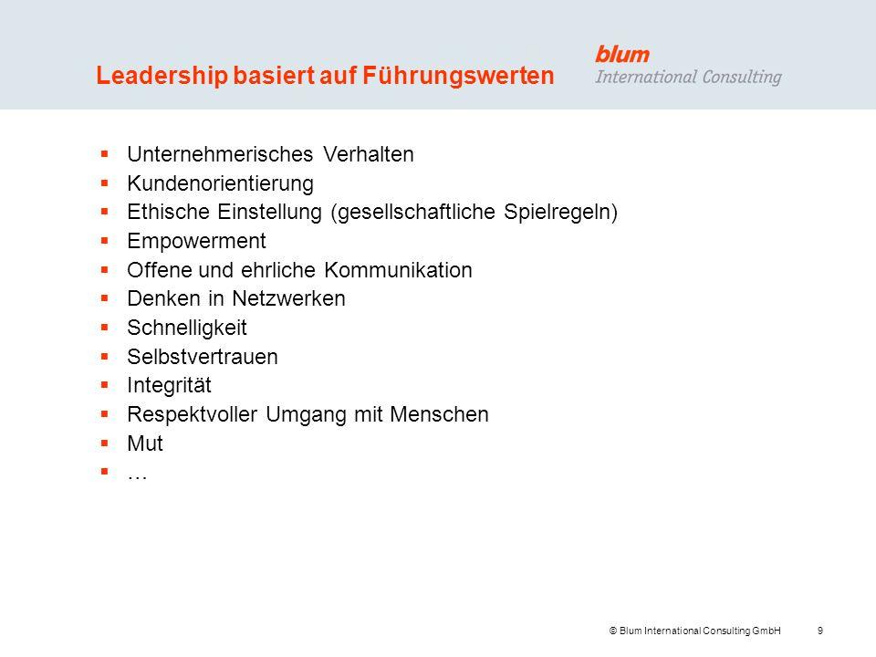 9 © Blum International Consulting GmbH Leadership basiert auf Führungswerten Unternehmerisches Verhalten Kundenorientierung Ethische Einstellung (gese