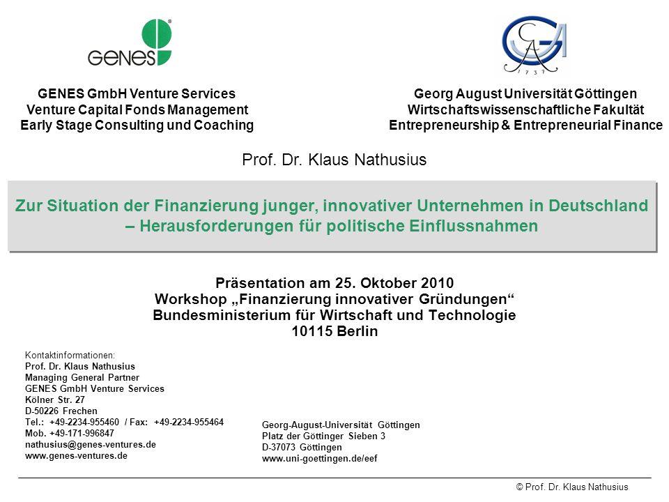 © Prof.Dr. Klaus Nathusius 32 Life Science Inkubator (4) 1.