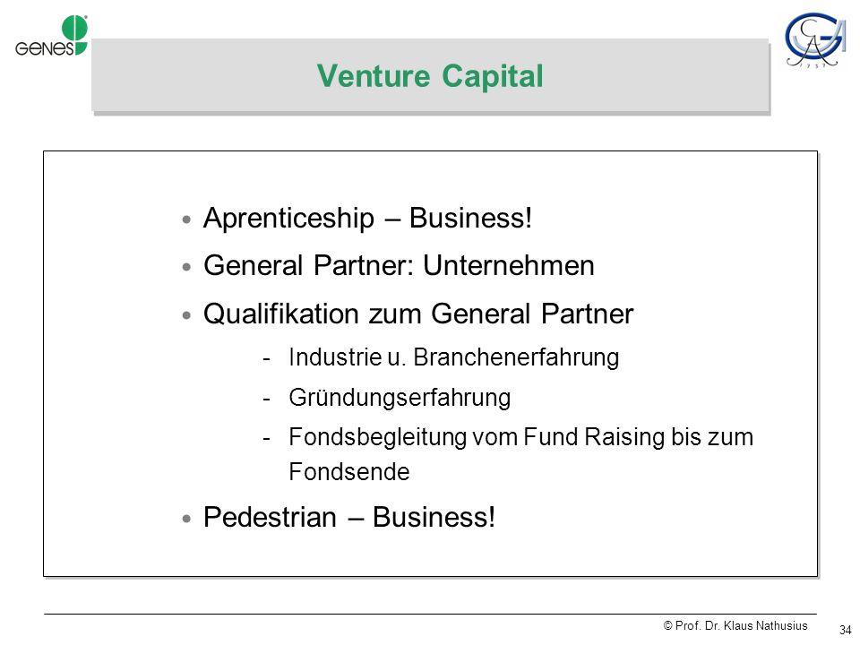 © Prof. Dr. Klaus Nathusius 34 Venture Capital Aprenticeship – Business.