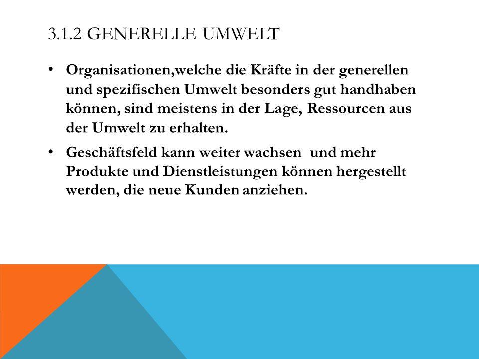 3.1.2 GENERELLE UMWELT Organisationen,welche die Kräfte in der generellen und spezifischen Umwelt besonders gut handhaben können, sind meistens in der
