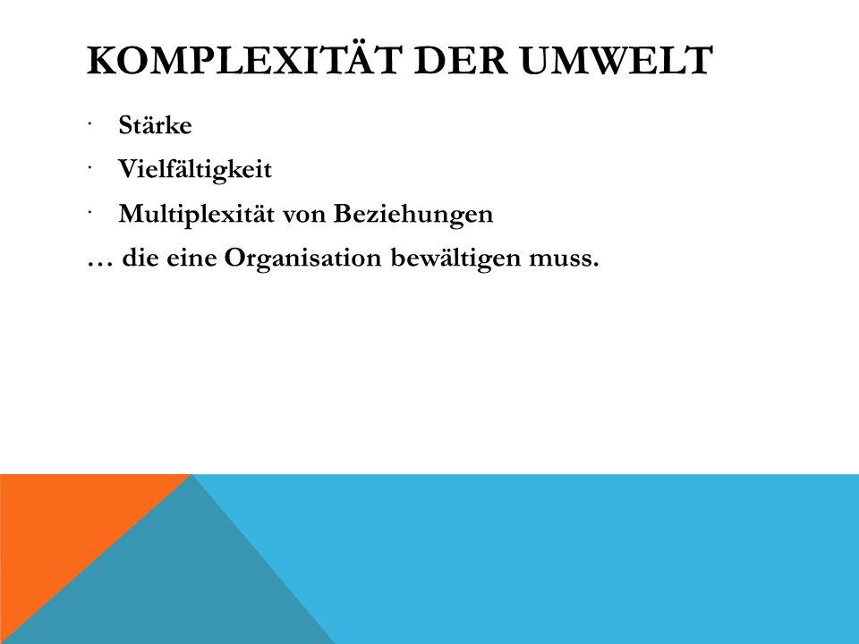 KOMPLEXITÄT DER UMWELT Stärke Vielfältigkeit Multiplexität von Beziehungen … die eine Organisation bewältigen muss.