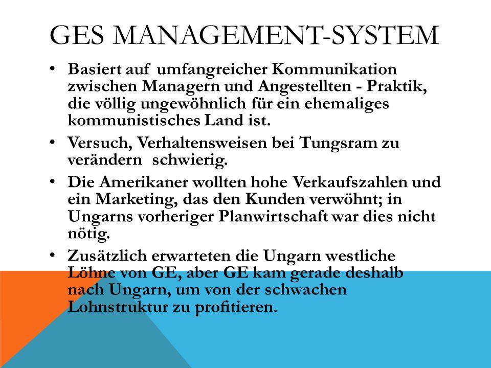 GES MANAGEMENT-SYSTEM Basiert auf umfangreicher Kommunikation zwischen Managern und Angestellten - Praktik, die völlig ungewöhnlich für ein ehemaliges