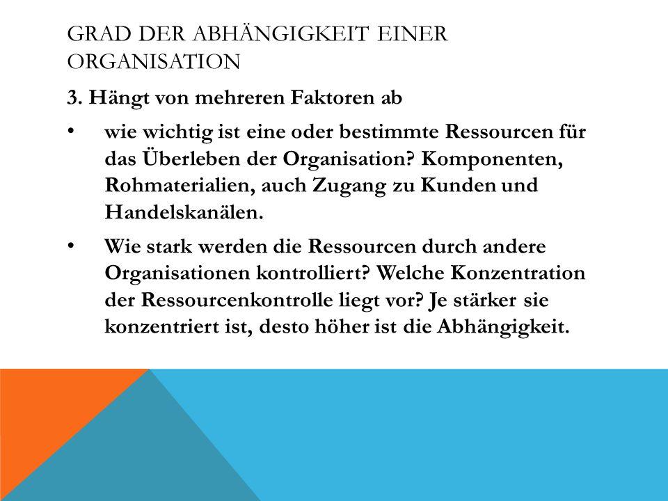GRAD DER ABHÄNGIGKEIT EINER ORGANISATION 3.