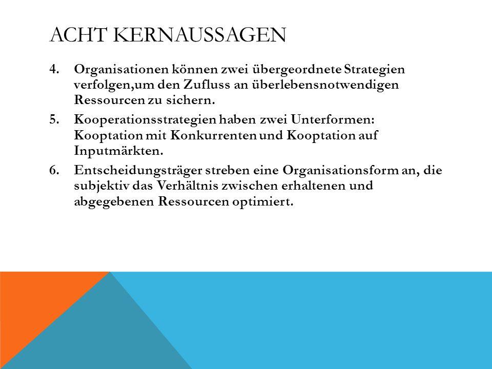 ACHT KERNAUSSAGEN 4.Organisationen können zwei übergeordnete Strategien verfolgen,um den Zufluss an überlebensnotwendigen Ressourcen zu sichern. 5.Koo