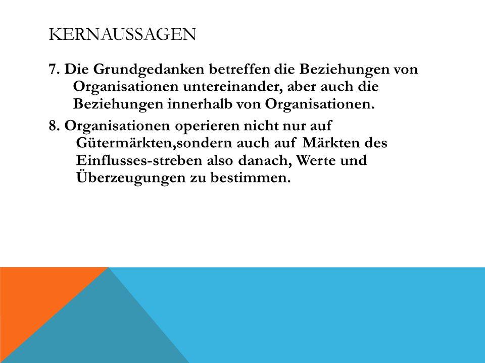 KERNAUSSAGEN 7. Die Grundgedanken betreffen die Beziehungen von Organisationen untereinander, aber auch die Beziehungen innerhalb von Organisationen.