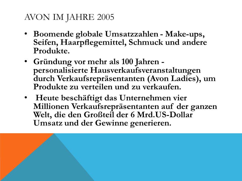 AVON IM JAHRE 2005 Boomende globale Umsatzzahlen - Make-ups, Seifen, Haarpegemittel, Schmuck und andere Produkte.