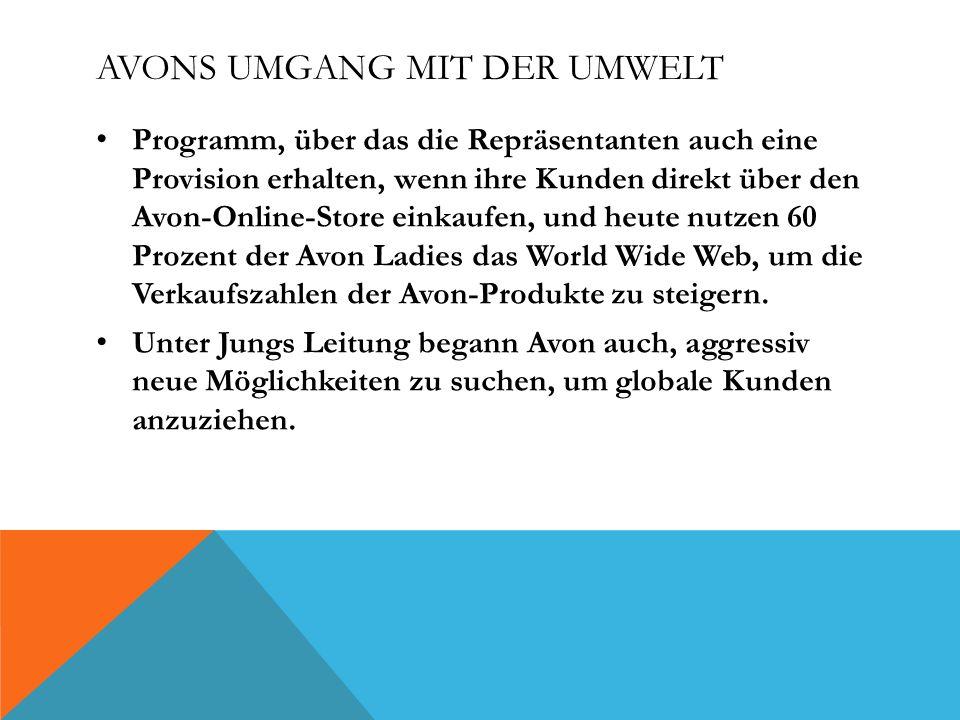 AVONS UMGANG MIT DER UMWELT Programm, über das die Repräsentanten auch eine Provision erhalten, wenn ihre Kunden direkt über den Avon-Online-Store einkaufen, und heute nutzen 60 Prozent der Avon Ladies das World Wide Web, um die Verkaufszahlen der Avon-Produkte zu steigern.