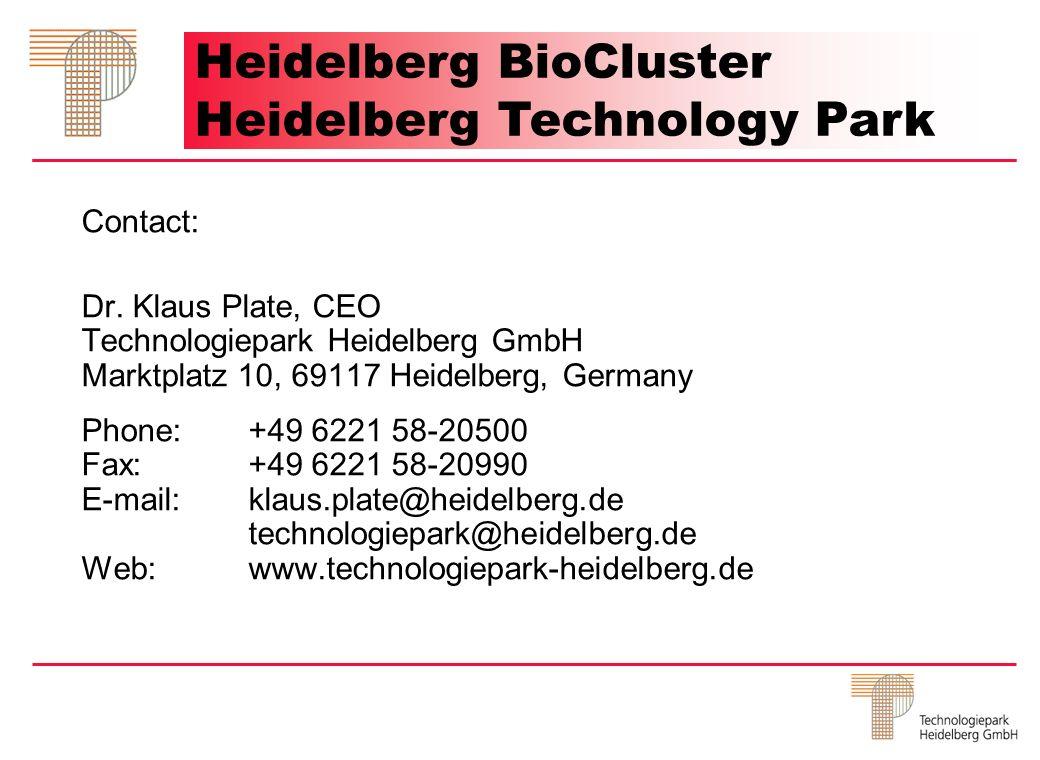 Contact: Dr. Klaus Plate, CEO Technologiepark Heidelberg GmbH Marktplatz 10, 69117 Heidelberg, Germany Phone:+49 6221 58-20500 Fax:+49 6221 58-20990 E