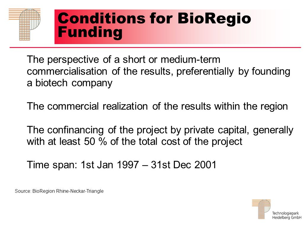 Conditions for BioRegio Funding The perspective of a short or medium-term commercialisation of the results, preferentially by founding a biotech company The commercial realization of the results within the region The confinancing of the project by private capital, generally with at least 50 % of the total cost of the project Time span: 1st Jan 1997 – 31st Dec 2001 Source: BioRegion Rhine-Neckar-Triangle