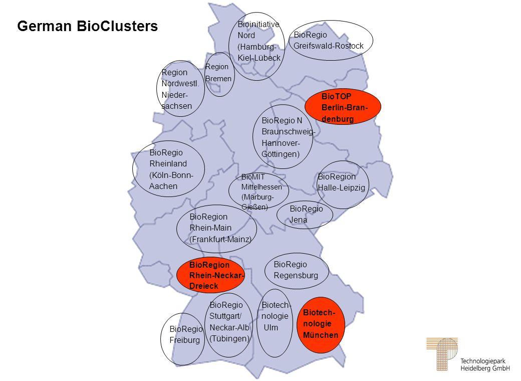 BioRegio Freiburg BioRegio Stuttgart/ Neckar-Alb (Tübingen) Biotech- nologie Ulm Biotech- nologie München BioRegion Rhein-Neckar- Dreieck BioRegio Reg