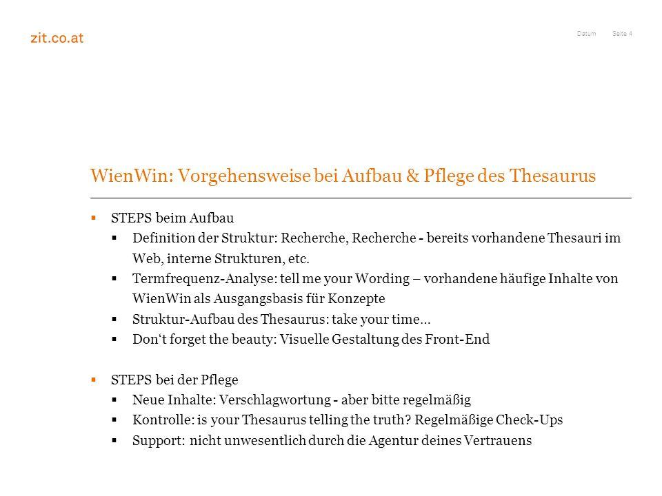 Seite 4 WienWin: Vorgehensweise bei Aufbau & Pflege des Thesaurus STEPS beim Aufbau Definition der Struktur: Recherche, Recherche - bereits vorhandene Thesauri im Web, interne Strukturen, etc.