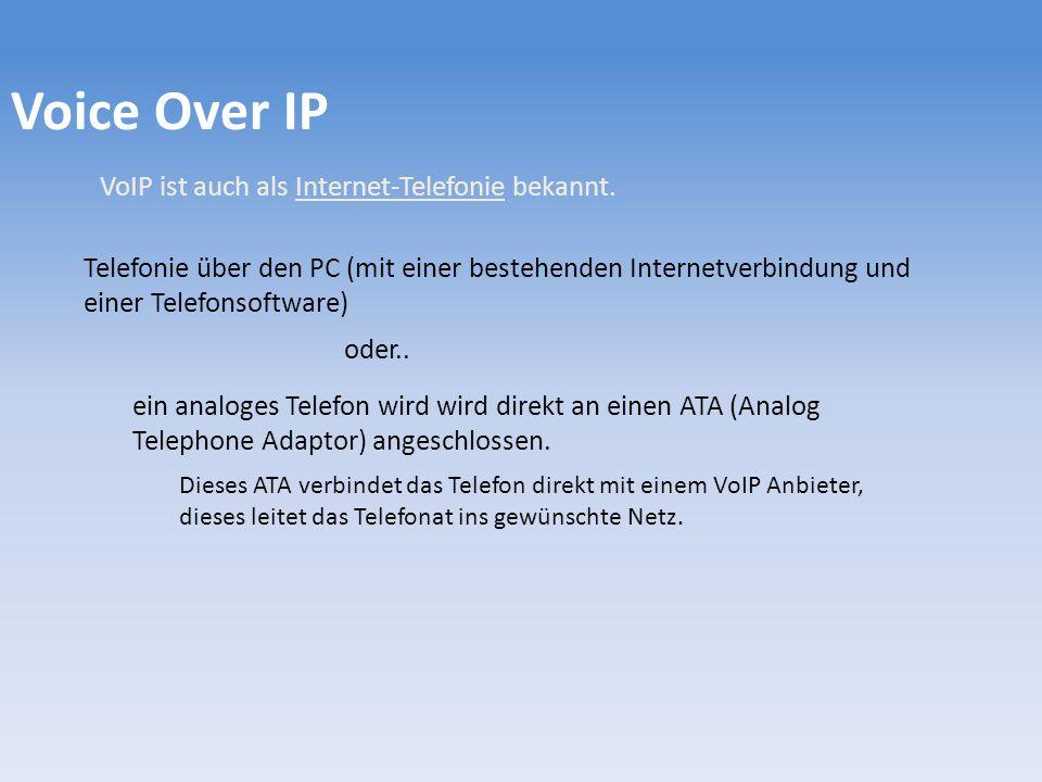 VoIP ist auch als Internet-Telefonie bekannt.