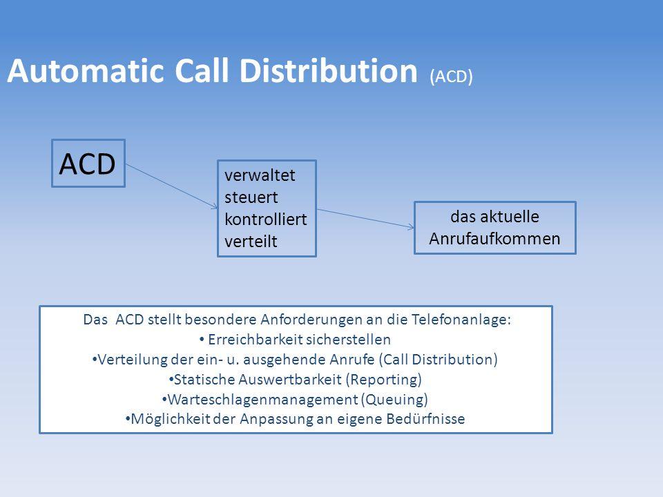 Automatic Call Distribution (ACD) ACD verwaltet steuert kontrolliert verteilt das aktuelle Anrufaufkommen Das ACD stellt besondere Anforderungen an die Telefonanlage: Erreichbarkeit sicherstellen Verteilung der ein- u.