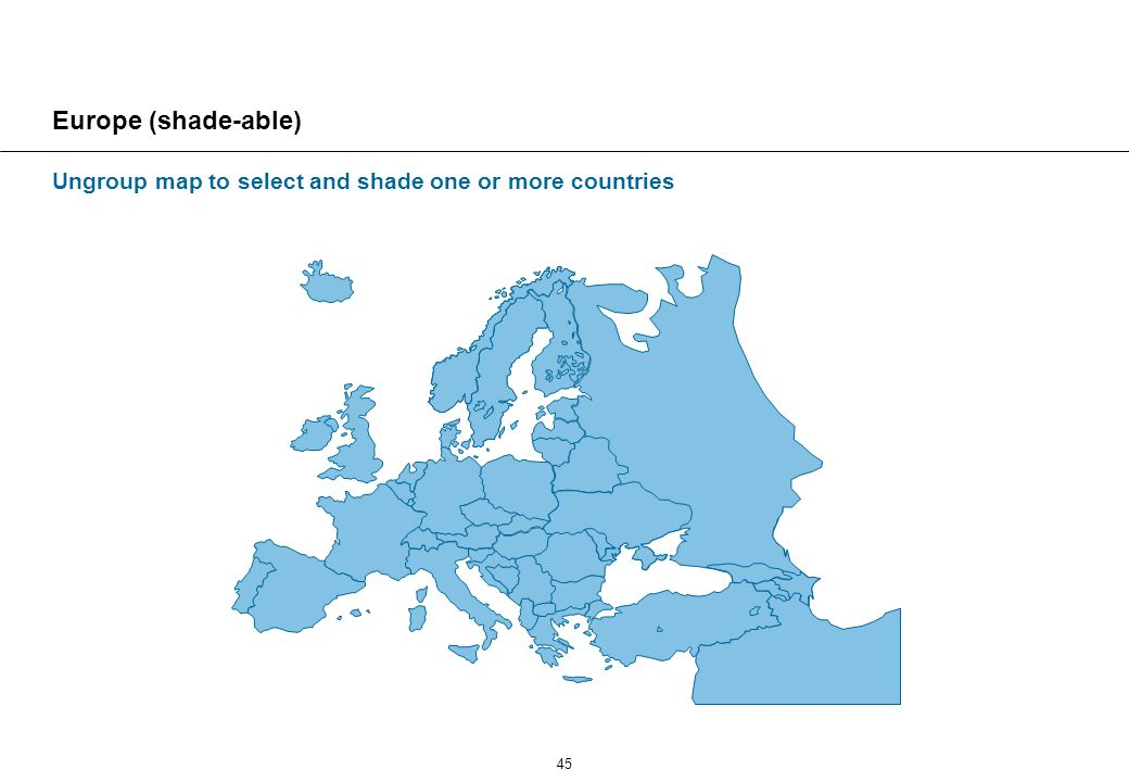 45 Europe (shade-able) Ungroup map to select and shade one or more countries