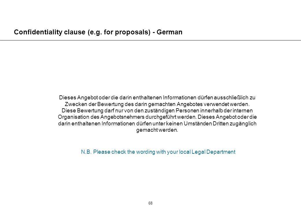 68 Confidentiality clause (e.g.