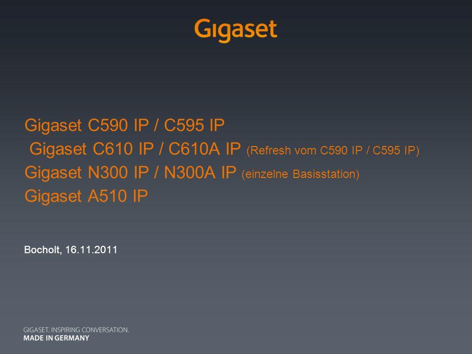 Gigaset C590 IP / C595 IP Gigaset C610 IP / C610A IP (Refresh vom C590 IP / C595 IP) Gigaset N300 IP / N300A IP (einzelne Basisstation) Gigaset A510 I