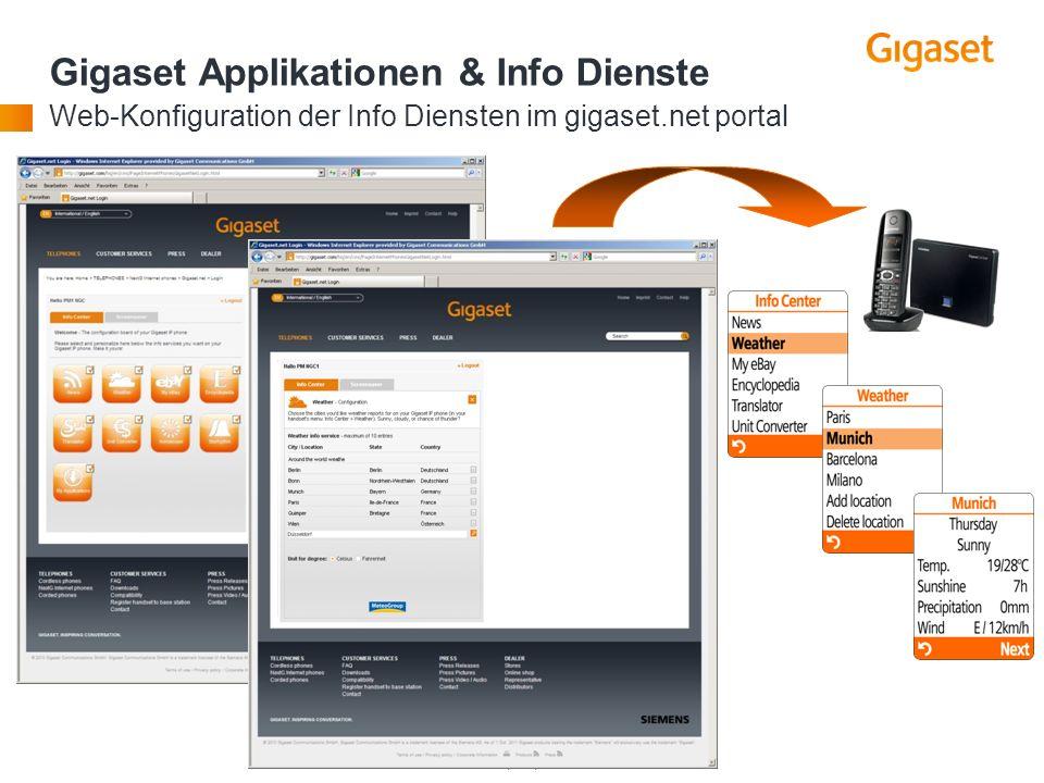 | 19 | Gigaset Applikationen & Info Dienste Web-Konfiguration der Info Diensten im gigaset.net portal