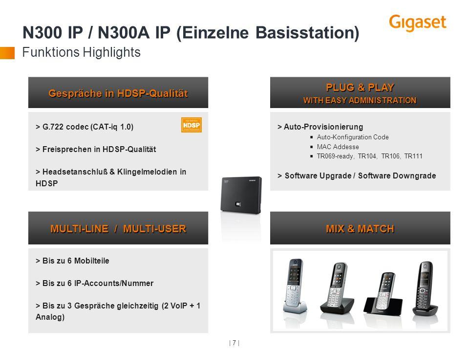 | 7 | Gespräche in HDSP-Qualität PLUG & PLAY WITH EASY ADMINISTRATION > G.722 codec (CAT-iq 1.0) > Freisprechen in HDSP-Qualität > Headsetanschluß & K