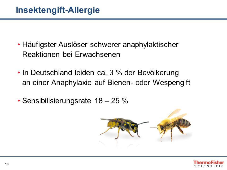 18 Insektengift-Allergie Häufigster Auslöser schwerer anaphylaktischer Reaktionen bei Erwachsenen In Deutschland leiden ca. 3 % der Bevölkerung an ein