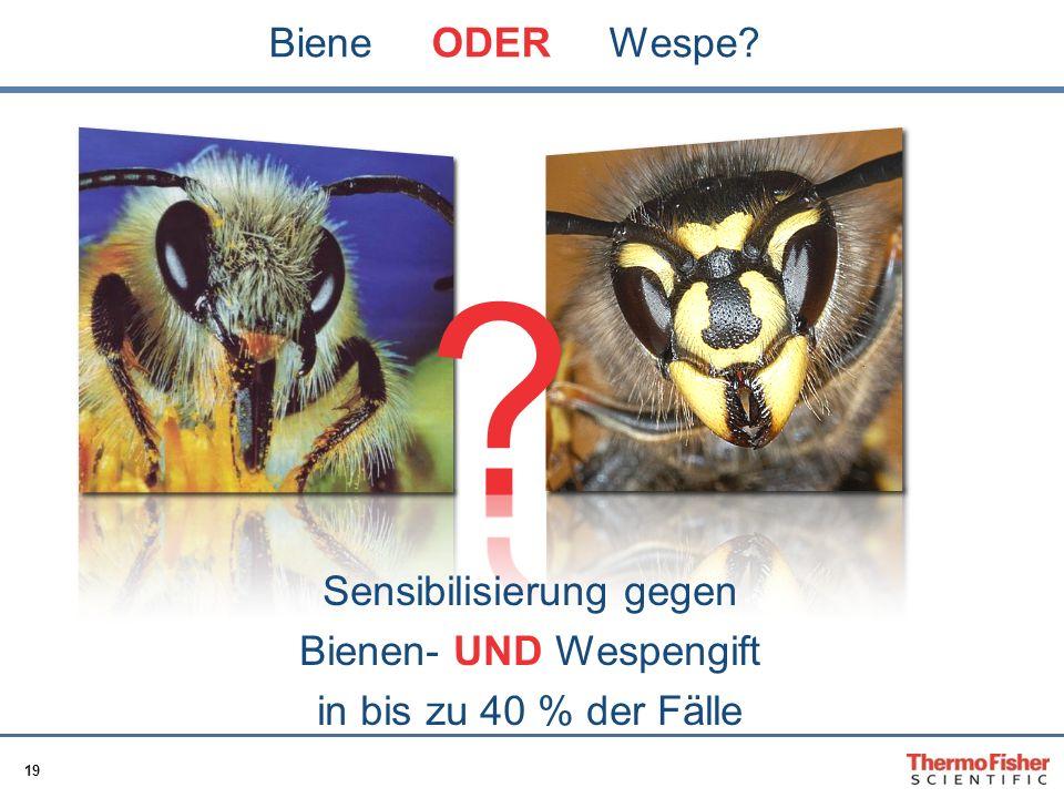 19 Biene ODER Wespe? Sensibilisierung gegen Bienen- UND Wespengift in bis zu 40 % der Fälle